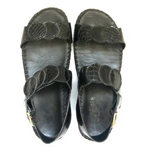 La Plume Black  Leather Wedge Sandals